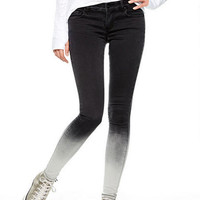 Olivia Low-Rise Jeggings in Black/White Dip-Dye
