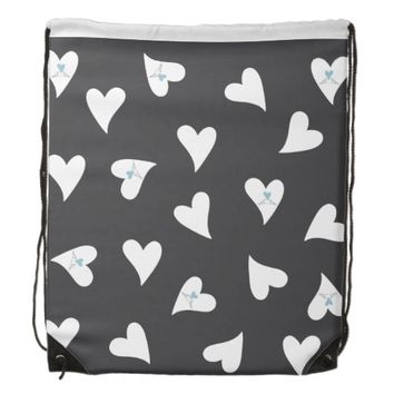 Cute white birds in love pattern rustic girly drawstring bags