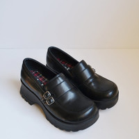 Vintage 90s Mary Jane Shoes Black Shoes Chunky Heel Babydoll Goth Chunky Wedge Shoes Black  LEI Shoes Rave Club Kid Grunge Size 8