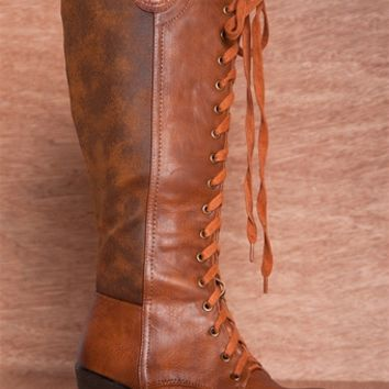 Jejune at Noon JOYCE-01 Tall Faux Leather Lace Up Wedge Boots - Camel