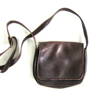 Vintage dark brown leather cross body purse. small boxy purse.