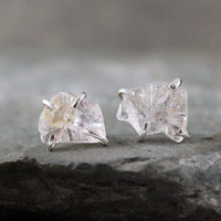 Uncut Raw Rough Morganite Earrings - Sterling Silver Stud Style Earrings - Handmade and Designed by A Second Time