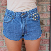 frayed studded high waisted shorts