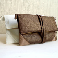 Vegan Fold over clutch and satchel, Metallic linen, detachable strap. Ready to ship.