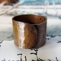 Hammered Copper Ring, chunky, fashion, unisex, wide band, big, bold, sturdy, custom sized ring