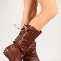 Lace Up Mid Calf Wedge Boot
