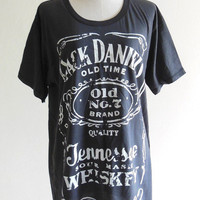 Jack Daniels Shirt Old No.7 Brand Sour Mash Tennessee Whiskey -- Black Shirt Women Shirt Men Shirt Short Sleeve Tee Shirt Size M