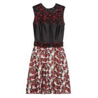 Rodarte Butterfly Printed Lace Dress - Red Lace Dress - ShopBAZAAR