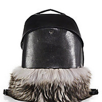 MCM - Theo Leather Furry Backpack - Saks Fifth Avenue Mobile