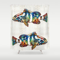 Colorful Grouper 2 Art Fish by Sharon Cummings Shower Curtain by Sharon Cummings