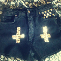 High Waist Vintage Black Chord Silver Cross Over Studded Shorts