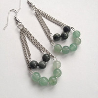 Seaweed Quartz and Green Aventurine Earrings