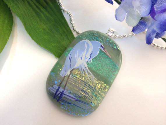 Fused Dichroic Glass Necklace Pendant White Crane in Green Gold Blue  Statement Jewelry  033