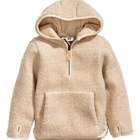 H&M - Hooded Pile Top - Natural white - Kids