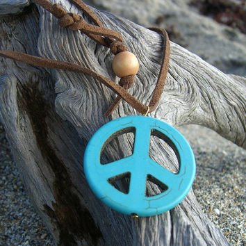 Stocking Stuffer-Peace Sign Pendant Necklace-Gifts Under 15, Gifts For Her, Music Festivals, Bohemian, Turquoise Pendant, Hippy Chic, Suede