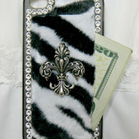 iPhone cases iPhone 4 case iPhone 4s case Hard cover Custom Handmade Zebra print Pocket cover Money holder  Faux fur