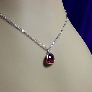 Ruby Red Glass Charm Necklace, Mom Sister Grandmother Bridesmaid Jewelry Gift, Pretty, Simple, Christmas Gift