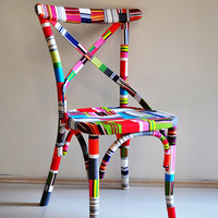4 x colorful Thonet dining chairs (custom order)