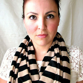 Jersey Loop Scarf, Mocha and Black Stripe Infinity scarf, circle scarf, Cozy Scarf, gift for her