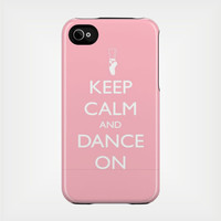 Keep Calm and Dance On iPhone Case 4 / 4S or 3G - Personalized iPhone Case - original design by a drop of golden sun