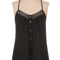 Button down embellished neck racerback tank