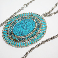 Vintage Faux Turquoise Necklace Chunky Statement  Pendant 1960s Jewelry