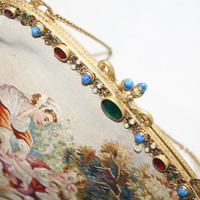 Antique Gemstone Frame Purse Gold Gilt Tapestry 1930s Blue Lapis Emerald Seed Pearl