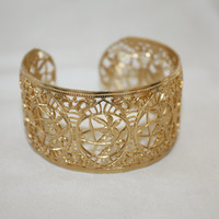 Filigree Gold Cuff Bracelet 1980s Jewelry Lacy Detail