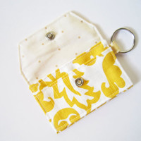 Mini key chain wallet/ simple ID Key chain/ Business card holder/ keychain coin purse / bright yellow abstract and dots pattern