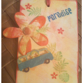 FOUR Paradise Hawaiian Style VW Micro Bus Plumeria Mixed Media Handmade Original Large Gift Tags