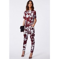 Missguided - Aleisha Floral Silk Feel Tapered Trousers Burgundy