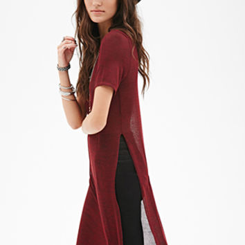 FOREVER 21 Heathered High-Slit Top Wine