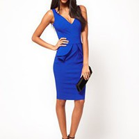 Hybrid Plunge Neck Peplum Pencil Dress at asos.com