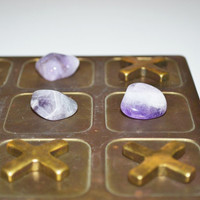 Vintage Brass Tic Tac Toe Game Vintage Board Game Brass and Amethyst polished Gemstones Coffee Table Game Home Décor