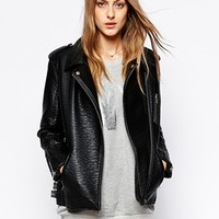 Urbancode Oversized Textured Biker Coat at asos.com