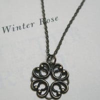 Filigree necklace- Antique brass filigree necklace- Filigree flower necklace- Clover necklace- Round necklace- Lace necklace