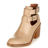 Light Brown Chunky Cut Out Heeled Boots
