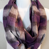 Purple Plaid Chunky Fall Infinity Scarf Neutral Tones Girls Plaid Winter Scarves Womens Fall Fashion Accessories Plaid Scarves Holiday Scarf
