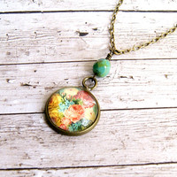 rose bud antique brass and upcycled stamp pendant necklace, recycled stamp, floral, romantic