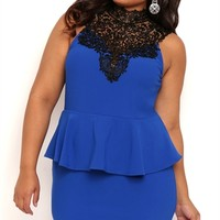 Plus Size Peplum Dress with Crochet Lack Neckline and Bow Back Mobile