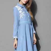 Grace Embroidered Denim Midi Dress  Blue