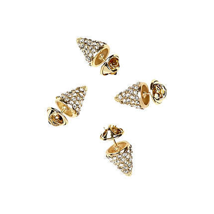gold tone diamante spikes