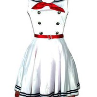 LIVING DEAD SOULS - WHITE FULL SKIRT SAILOR DRESS