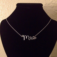 Dainty Mrs Necklace for Bride-to-Be Bridal or Wedding Gift. 14k Gold, 14k Rose-Gold, or Sterling Silver