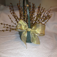 Basket, Sage Painted, Sage & Cream Berries, Gold Bow