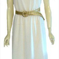 70s White Vintage Disco Diva Dress Gold Belt