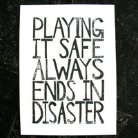 POSTER - Playing it safe BLACK LINOCUT poster 22x16 Banksy quote