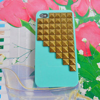 iPhone 4 4S Hard Case Cover with bronze pyramid stud For Apple iPhone 4,4S ,iPhone 4 Case, iPhone 4S Case, iPhone 4 Hard Case,  case-0175