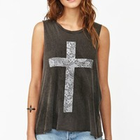 Faded Cross Muscle Tee