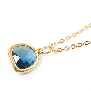 Zircon Blue Pendant Necklace Faceted Drop Stone Rose Gold Frame Charm with 18 inch Rose Gold Chain